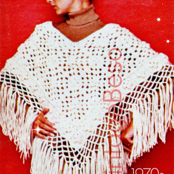 Poncho CROCHET Pattern for Summer Wear a Vintage 1970s CROCHET Pattern Flower Granny Square Pattern Poncho Pattern Pdf Pattern Vintage Beso