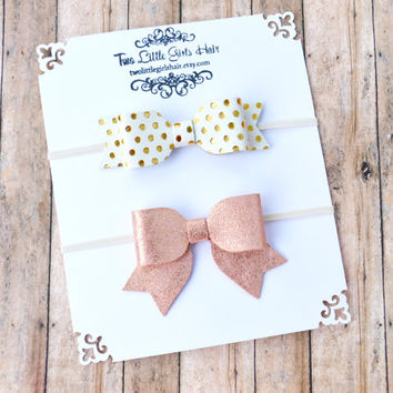 Leather Bow Headband Set, Metallic Leather Bow, Pink Leather Bow, Gold Leather Bow, Glitter, Girls, Baby, Photo Prop