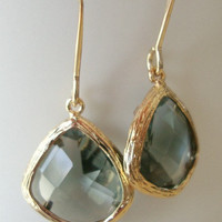 Gold Dangle Earrings with Black diamond glass drop for your black dress Bridal Bridesmaid gifts Spring accessories