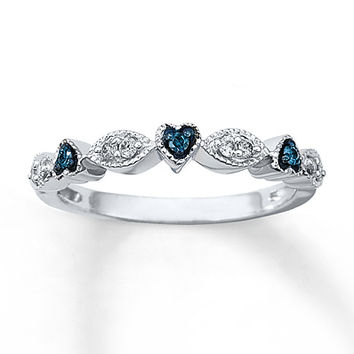 Blue & White Diamond Ring 1/8 ct tw Round-cut Sterling Silver