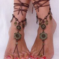 Brass FLOWER Ethnic BAREFOOT SANDALS brown foot jewelry hippie sandals toe ring anklet crochet barefoot tribal sandal festival yoga wedding