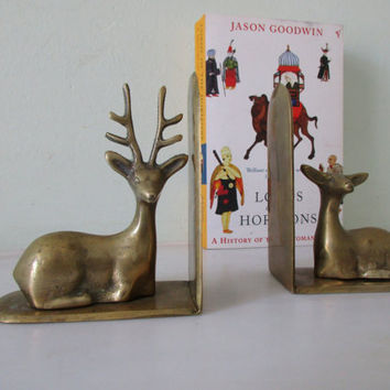 French Mid Century Doe and Buck Brass Bookends - Deer Bookends - Good Condition - Stylish - Library Decor