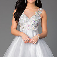 Short Sleeveless A-Line Dress with Illusion Bodice