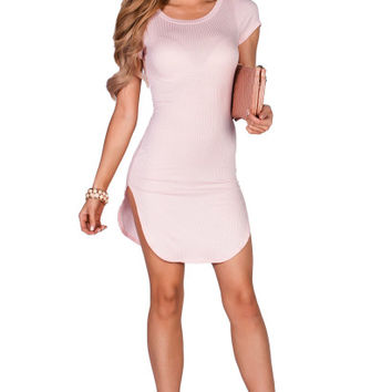 Ciara Blush Ribbed Jersey Short Sleeve Bodycon Casual Tunic Dress
