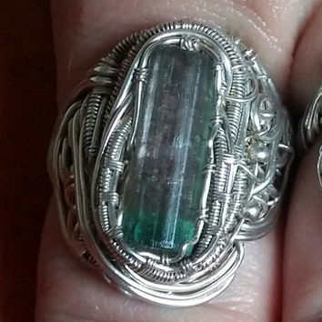 gorgeous teal capped pink tourmaline crystal set in sterling silver wire wrapped  ring sz6