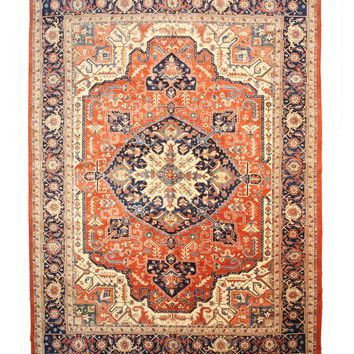EORC Hand-knotted Wool Rust Traditional Oriental Persian Heriz Rug