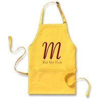 Monogrammed Red Hot Cook Apron
