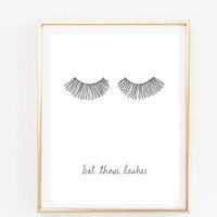 bat those lashes makeup print Typographic Print Quote art print wall decor bedroom decor teen room print framed quote tumblr room decor