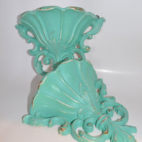 Ornate Vintage Shelf aqua chalk paint distressed modern home decor bright housewares