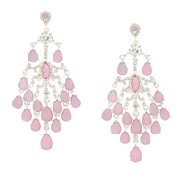 Rhinestone and Pink Opal Crystal Teardrop Chandelier Drop Earrings