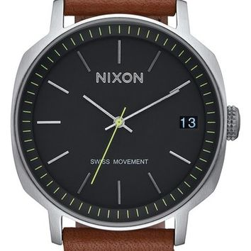 Nixon 'The Regent' Leather Strap Watch, 42mm | Nordstrom