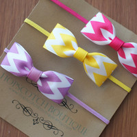 Chevron Bow Tie Headbands Pink, Yellow & Purple Newborn headband baby headband girls headband