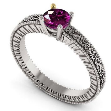 18K White Gold Solitaire Filigree Amethyst Ring Unique Purple Amethyst Engagement Ring  Milgrain Ring Christmas Ring