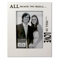 "CARR By Burnes Of Boston ""All Because Two People Fell In Love"" Large-Size 7"" x 5"" Wedding / Engagement Real Wood Engraved Photo Frame"