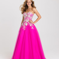 Madison James 16-434 Lace Applique Tulle Ballgown Prom Dress