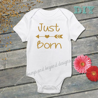 Just Born Bodysuit Baby Girl Newborn Shirt Birth Announcement Bodysuit New Baby Shirt Baby Shower Gift Coming Home Outfit 004