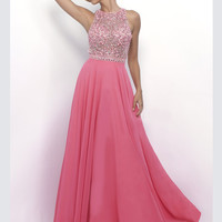 Intrigue 268 High Neck Beaded Prom Dress