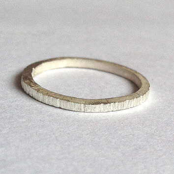 Silver Tree Bark Ring - Distressed Texture - Sterling Silver - Thin Ring - Solid - Wedding Band - Men's Women's - Unisex - Eco - 1234mm wide