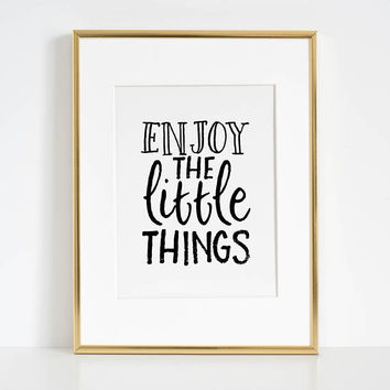 FAMILY WALL DECOR, Enjoy The Little Things,Inspirational Quote,Kitchen Decor,Be Happy Sign,Positive Quote,Motivational Poster,Quote Posters