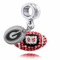 Buy Georgia Bulldogs Enameled Football Drop Charm. Solid Sterling Silver with Enamel . Free Shipping