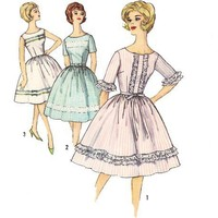 Vintage 1960s Sewing Pattern Rockabilly Dress Mad Men bust 34 Medium