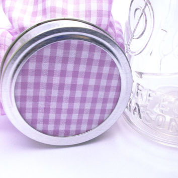 12 Lavender Purple Gingham Jam Covers, Cloth Toppers, fabric for mason jars, food preservation, shower favor