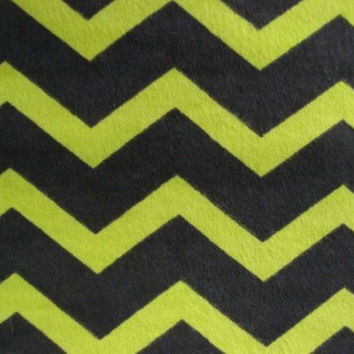 Zig Zag Lime Green and Black Chevron Flannel Fabric, 1 Yard, more available