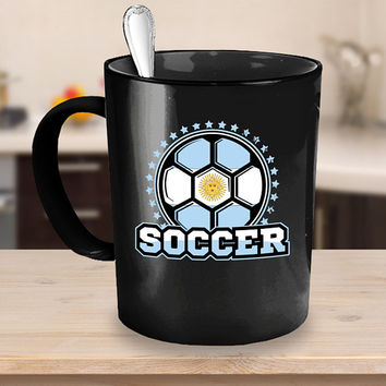 Argentina Soccer Ball Coffee Mug 11 or 15oz White or Black Ceramic Cup, Soccer Gift, Soccer Player, Soccer Mug, Argentina Flag