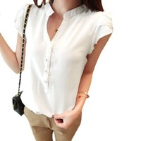 Allegra K Women Single Breasted V Neck Short Sleeve Pullover Casual Top Shirt White XS