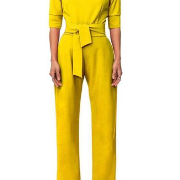 Yellow Pockets Zipper Drawstring Waist Fashion Long Jumpsuit