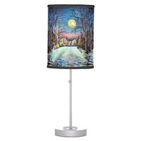 Silent Night Winter Full Moon in Sweden Desk Lamp