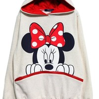 Sheinside Long Sleeve Mickey Hooded Sweatshirt