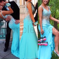 Buy Simple Dress Luxurious Mermaid V-neck Sparkle Blue Chiffon Long Prom Dresses/Party Dresses CHPD-7003 Special Occasion Dresses under $194.99 only in SimpleDress.