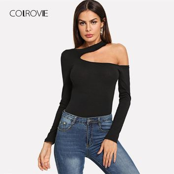 COLROVIE Black Work Cold Shoulder Long Sleeve Sexy Women T Shirt For Girls 2018 Vintage Tops Tee Shirts Female Women Clothes