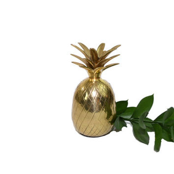 Vintage One Piece Brass Pineapple Solid Brass Pineapple Container Pineapple Candle Holder