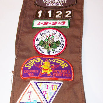 1993 Brownie Girl Scouts Sash, Merit Badge, Girl Scout Patch, Northwest Georgia, Super Star Badge, Music Badge, Troupe 112, Girl Scouts USA