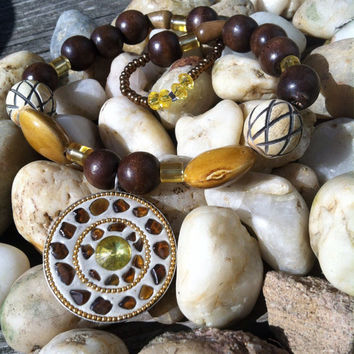Natural wood and stone beaded stretch necklace