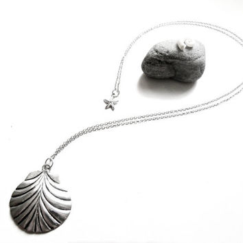 Silver Shell Pendant - Extra Long Antique Silver Necklace - Long Chain - Boho Hippie Beach Jewellery