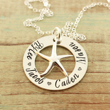 Customized Mommy jewelry - Hand stamped sterling silver washer necklace with starfish charm - Eternity necklace - Beach lover