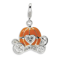 925 Silver 3D Pumpkin Carriage Charm Created with Swarovski Crystals