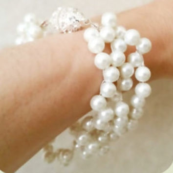 Pearl Rhinestone Statement Bracelet, Wedding Jewelry Bridal Bracelet