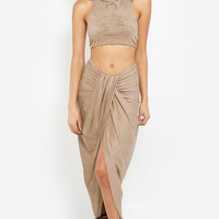 Draped Suede Co-Ord Set