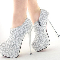 Princess Glitter Lace High Heels Wedding shoes Zipped Ankle Boots