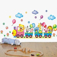 [Fundecor] children wall stickers cartoon animal train decals art removable nursery kids room home decor 4145