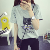 2016 New Women's Summer T-Shirt Batman Printed Tee O-neck Lovely Anime Hero Printed Short-sleeve Top 3 Colors Free Shipping