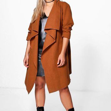 Plus Jourdan Wool Look Wrap Front Coat | Boohoo