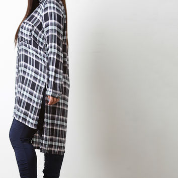 Plaid Side Slit High-Low Tunic Shirt