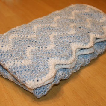Blue Chevron Baby Crocheted Afghan Boy Blanket