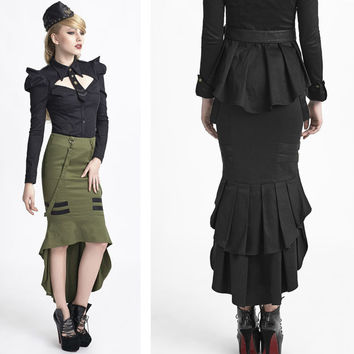 Steampunk Punk military style Fashion Womens Sexy fishtail Gothic Skirt 2 color