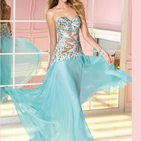 Sweetheart Sheer Floral Beaded Applique Chiffon Formal Prom Dress By Alyce Paris 6202